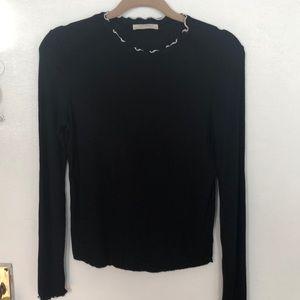 Zara black ruffle neck mock turtleneck longsleeve